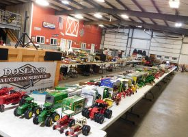 tables full of toy tractors